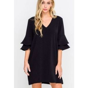 Altar'd State Black Dress with Ruffle Sleeves